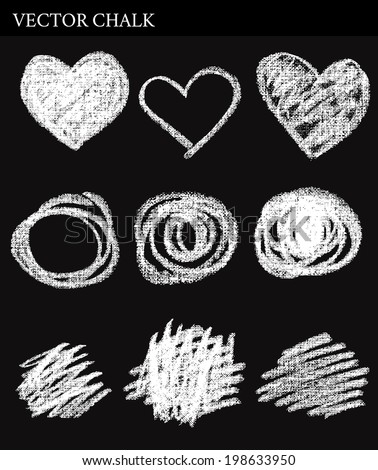Vector Chalk Circles. Hand drawn illustration. - stock vector