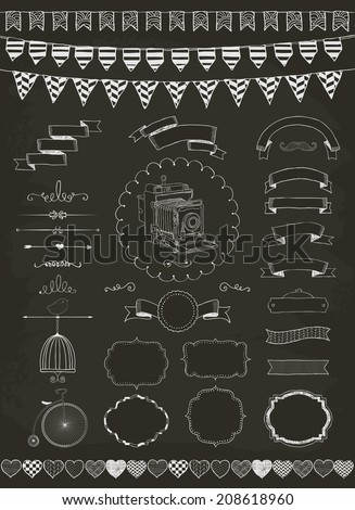 Vector Chalk Drawing Banners, Ribbons, Frames. Set of Graphic Design Elements. - stock vector