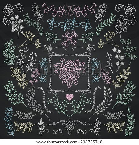 Vector Chalk Drawing Hand Sketched Rustic Floral Doodle Branches, Design Elements. Decorative Floral Frames, Branches, Swirls. Vector Illustration. Chalkboard Background Texture. Pattern Brushes. - stock vector