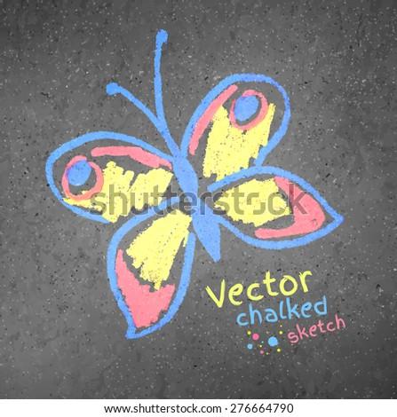 Vector chalk drawn butterfly on asphalt background. - stock vector