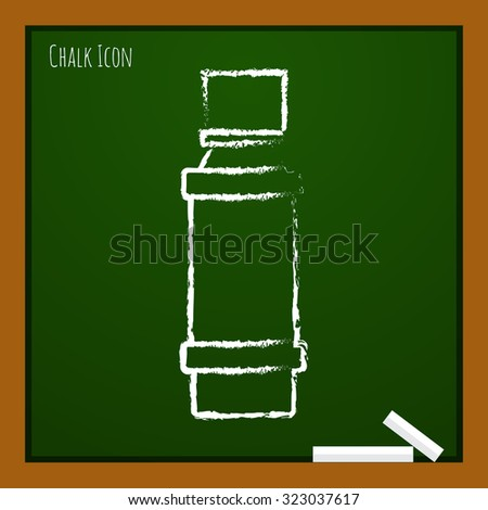 Vector chalk drawn doodle flavoring bottle on school board . Kitchen icon