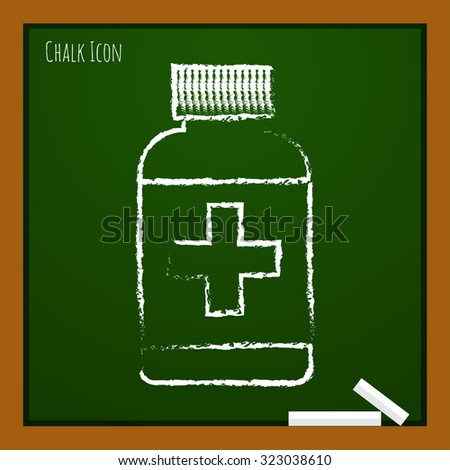 Vector chalk drawn doodle tablet bottle on school board . Health icon  - stock vector