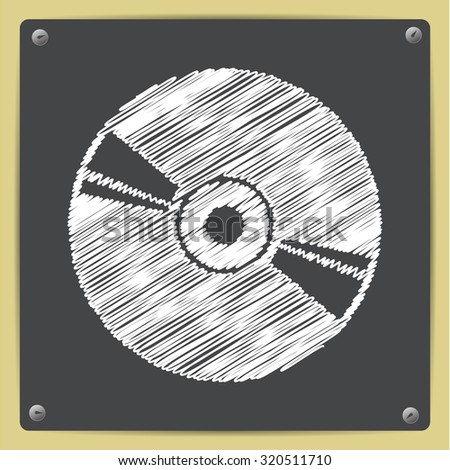 Vector chalk drawn in sketch style compact disc icon on school blackboard  - stock vector