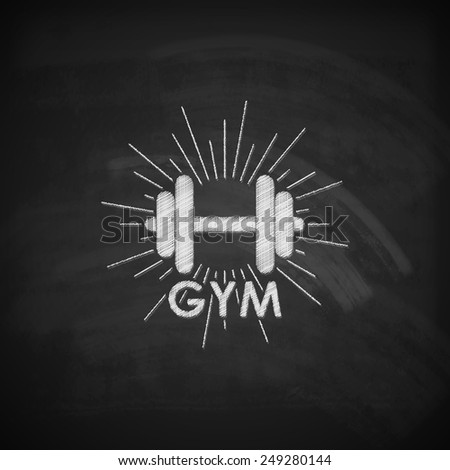 vector chalk  illustration of a dumbbell with burst light rays on the blackboard texture. fitness or bodybuilding gym logo concept  - stock vector