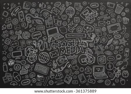 Line Art Media Design : Vector chalkboard line art doodle cartoon stock