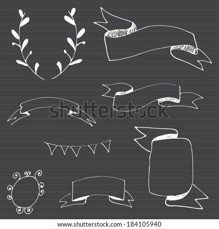 Vector Chalkboard Ribbons - stock vector