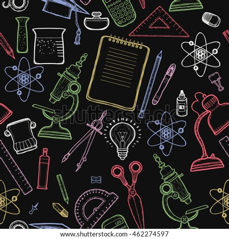 Vector chalkboard school seamless pattern. Back to School. Funny Pictures chalk on a blackboard. Icons of education and school life.