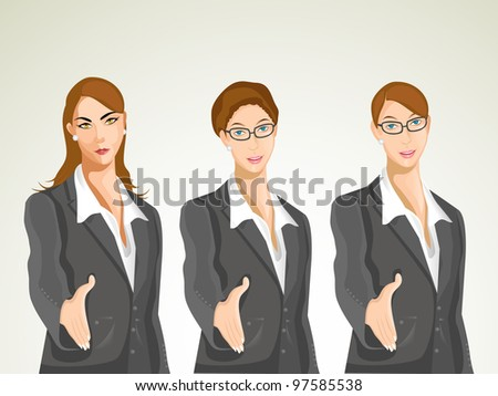 Vector character, business set-1. Group of young businesswomen wearing professional uniform, offering hands for deal. eps 10. - stock vector