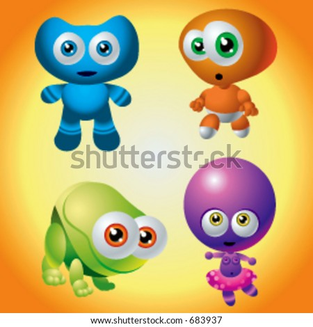 Vector Character Collection of Baby Monsters Aliens - stock vector