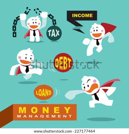 vector character cute businessman as superhero with fighting, money management concepts - stock vector