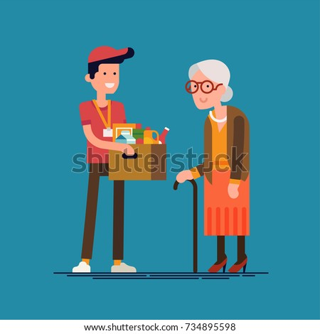 Vector character design on food donation, charity or food drive. Cheerful volunteer giving vulnerable senior lady a box full of food and groceries in order to support and care