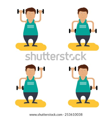 vector character. fat man with dumbbells doing  gymnastic - stock vector