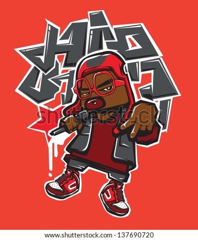 vector character hip hop - stock vector
