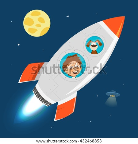 Vector character illustration of child kid boy and rocket in space