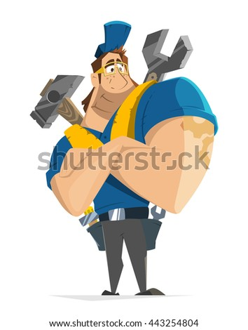 Vector character illustration of fly worker workman man handyman repairman working in car or home house repair service