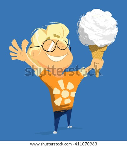 Vector character illustration of happy smile child boy kid hold and eat ice cream in summer day