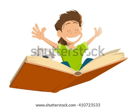 Vector character illustration of happy smile kid boy child flying on a big open book with cute puppy.