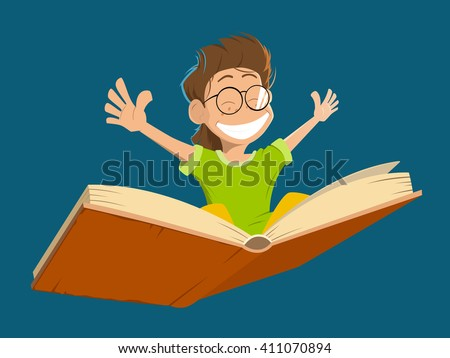 Vector character illustration of happy smile kid boy child with glasses flying on a big open book - stock vector