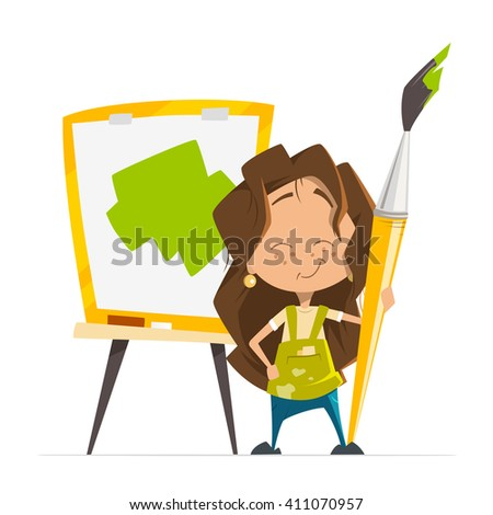 Vector character illustration of little cute girl painting a picture holding big paint art brush standing near easel with paper