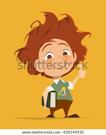 Vector character illustration of Smart cute kid with book thumbs finger up - stock vector