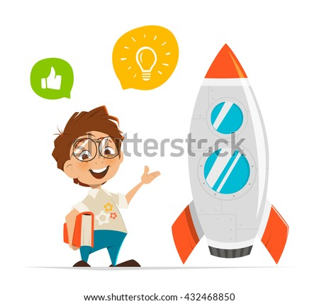 Vector character illustration of smart kid inventor and rocket - stock vector