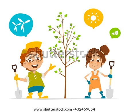 Vector character illustration of two kids boy and girl planting a tree - stock vector