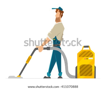 Vector character of cleaner janitor man vacuum floor holding professional hoover - stock vector