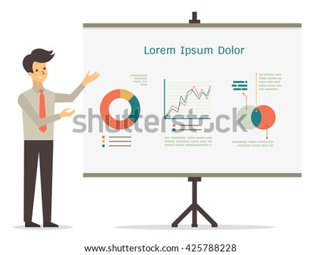 Vector character of smile businessman presenting with visual whiteboard, in presentation concept.  - stock vector