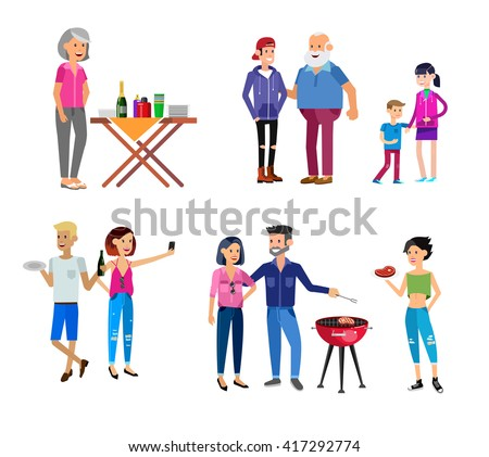 Vector character people on Family picnic or Bbq party. Food and barbeque, summer and grill. Vector barbeque party, illustration barbeque party - stock vector