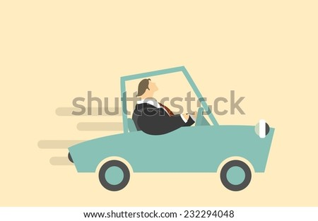 Vector character rides in the car on a light background - stock vector