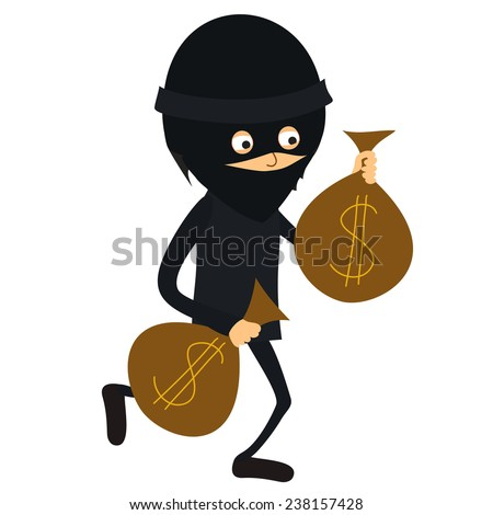 Thief Running With Money Vector Character Running Thief
