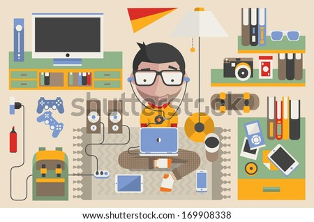 Vector character, technology background - stock vector