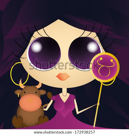 Vector Character With Astrological Sign Taurus Isolated
