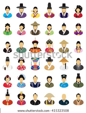 Vector characters (East Asia, traditional clothes) - icon set - stock vector