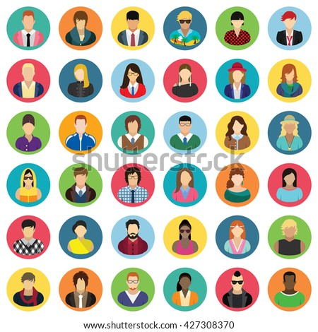 Vector characters - icon set. Set of thirty-six people icons.  - stock vector