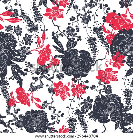 Vector Charcoal Red Kimono Flowers Seamless Pattern - stock vector