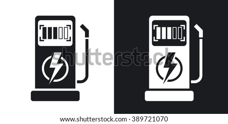 Vector charging station for electric car icon. Two-tone version on black and white background