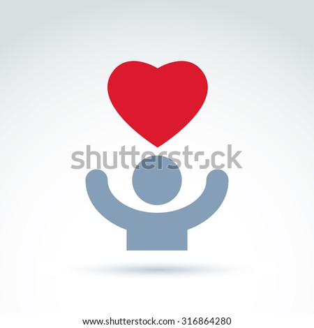 Vector charity and donation symbol. Illustration of red loving heart and human with hands up. Concept of assistance and volunteer. - stock vector
