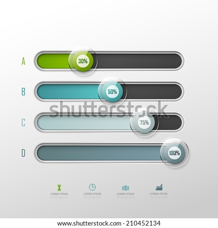 Vector chart template in modern style. For infographic and presentation  - stock vector