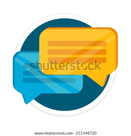 Vector Chat Flat Round Icon - stock vector