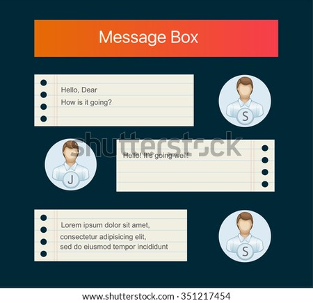 Vector chat interface. Sms messages. Speech bubbles. Short message service bubbles. Flat interface - stock vector