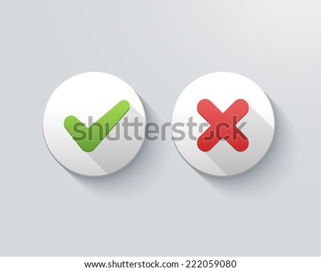 vector check mark icons, tick and cross on buttons - stock vector