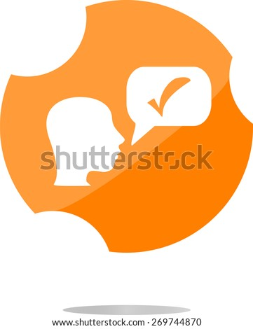 vector check mark sign icon with people head. Help symbol. FAQ sign. vector modern flat icons business, office and marketing items. Isolated on white background - stock vector