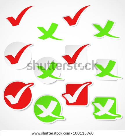 Vector check mark stickers - stock vector