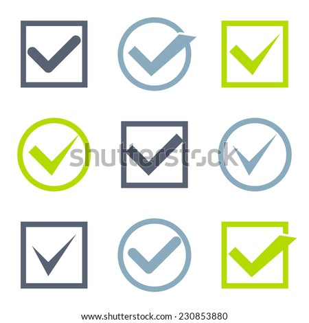 Vector check marks in boxes set. Completion of tasks on a list. Acceptance, choice, agreement or true - stock vector