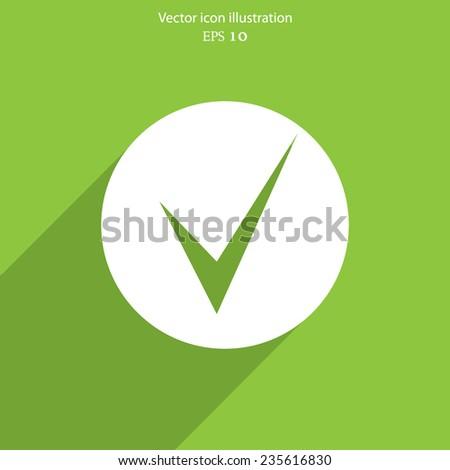 Vector check web flat icon. Eps 10 vector illustration. - stock vector