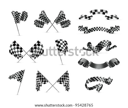 Vector Checkered flags, set - stock vector