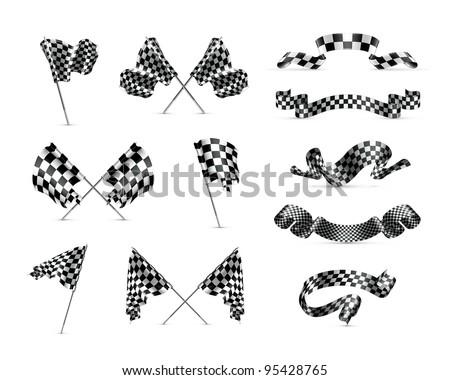 Vector Checkered flags, set - stock vector