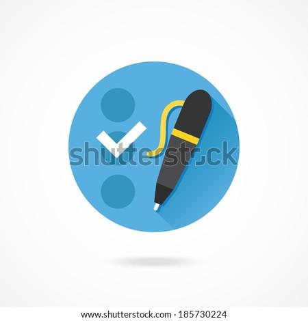 Vector Checklist and Pen Icon - stock vector