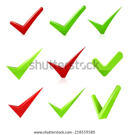 Vector checkmark set. - stock vector
